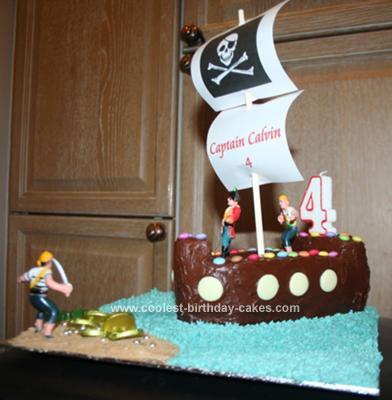 Homemade 4th Birthday Pirate Ship Cake