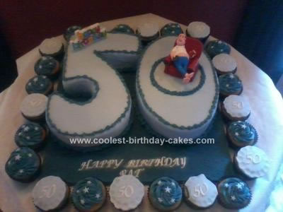 Fabulous Coolest 50Th Birthday Cake With Cupcakes Personalised Birthday Cards Sponlily Jamesorg