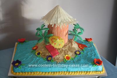Homemade 60th Birthday Luau Cake