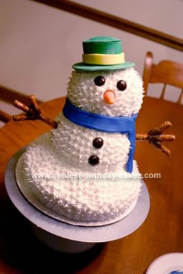 Homemade 6th Birthday Snowman Cake