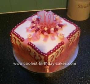 Homemade 70th Gift Box Cake