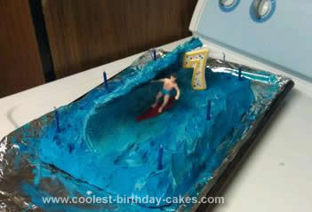 Homemade 7th Birthday Surfer Cake