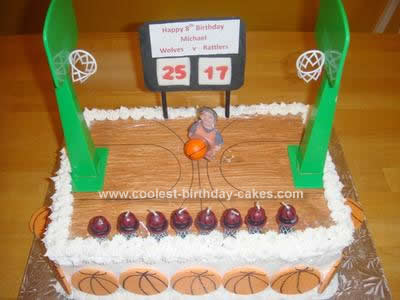 Homemade 8th Birthday Basketball Cake