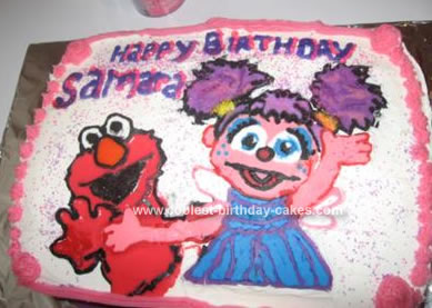 Homemade Abby Cadabby And Elmo Birthday Cake