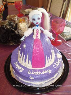 Homemade Abby Monster High Doll Cake