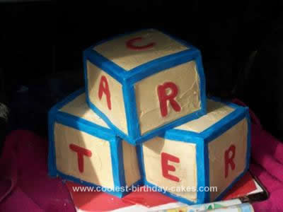 Homemade ABC Blocks Shower Cake