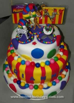 Homemade Afro Circus Polka Dot Birthday Cake