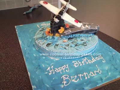 Homemade Aircraft Carrier and Plane Cake