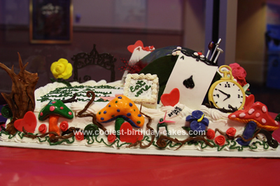 Homemade Alice in Wonderland Birthday Cake