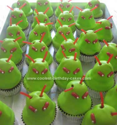 Homemade  Alien Birthday Cupcakes