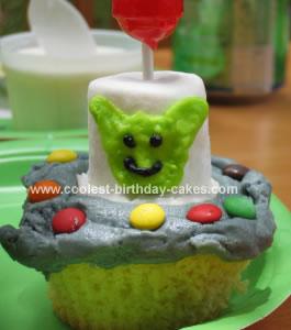 Homemade Alien Cupcake Cake