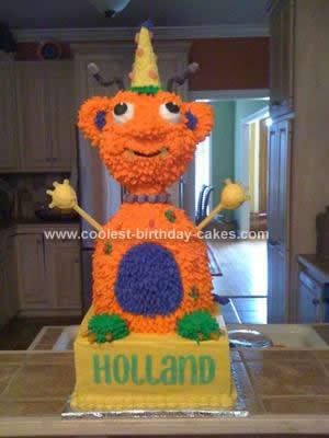 Homemade Alien Halloween Birthday Cake