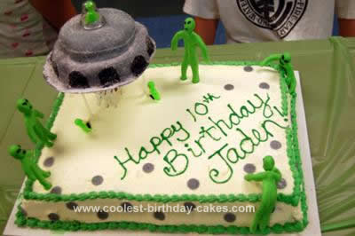 Homemade Alien Spaceship Birthday Cake
