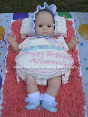 Homemade American Girl Bitty Baby 1st Birthday Cake