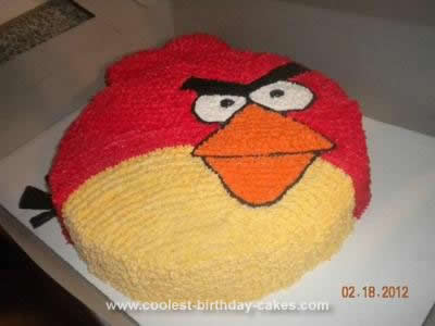 Magnificent Cool Homemade Red Bird Angry Birds Birthday Cake Funny Birthday Cards Online Fluifree Goldxyz