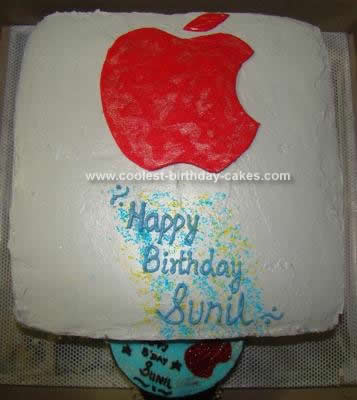 Homemade Apple Computer Birthday Cake