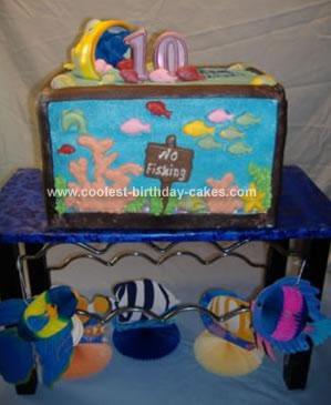 Groovy Cool Homemade Aquarium Birthday Cake Funny Birthday Cards Online Necthendildamsfinfo