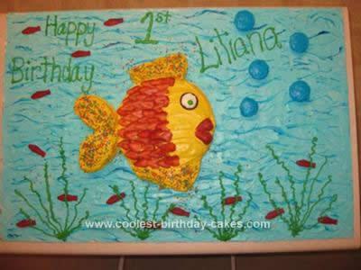 Outstanding Cute Homemade Aquarium Birthday Cake Funny Birthday Cards Online Necthendildamsfinfo