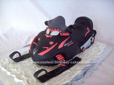 Homemade Arctic Cat Snowmobile Cake