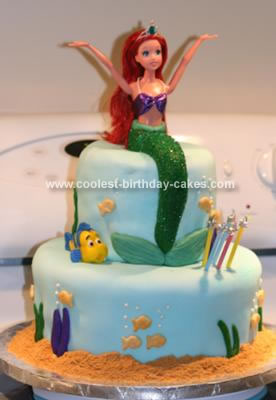 Groovy Coolest 2 Tiered Ariel Birthday Cake Personalised Birthday Cards Bromeletsinfo