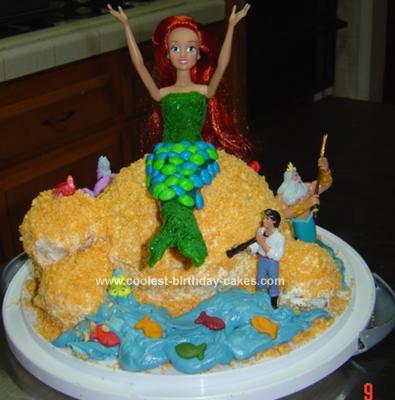Homemade Ariel Birthday Cake