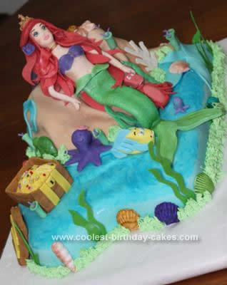 Homemade Ariel Little Mermaid Cake