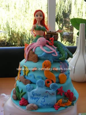Fantastic Coolest Ariel The Little Mermaid Birthday Cake Personalised Birthday Cards Paralily Jamesorg