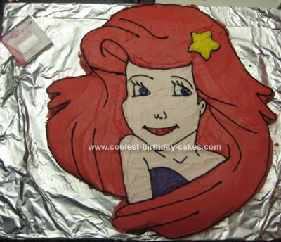 Homemade Ariel The Little Mermaid Cake