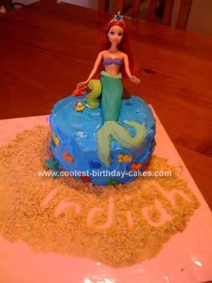 Homemade Ariel the Mermaid Birthday Cake