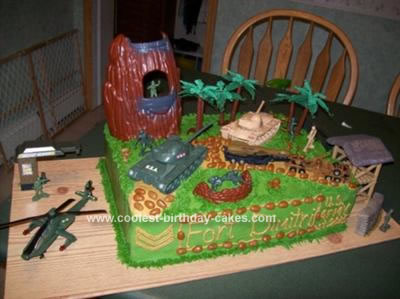 Homemade Army Scene Birthday Cake