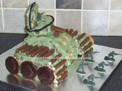 homemade Army Tank Birthday Cake