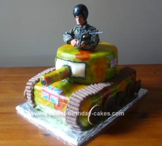 Homemade Army Tank Birthday Cake