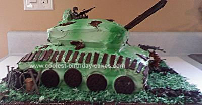 Cute Homemade Army Tank Birthday Cake
