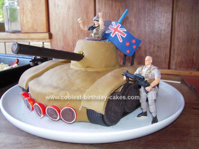 Admirable Cool Homemade Army Tank Birthday Cake With British Flag Birthday Cards Printable Riciscafe Filternl