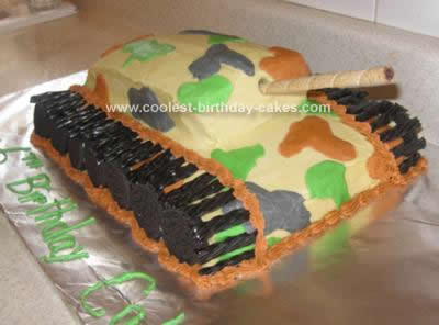 Super Cool Homemade Tan And Camo Army Tank Birthday Cake Personalised Birthday Cards Rectzonderlifede