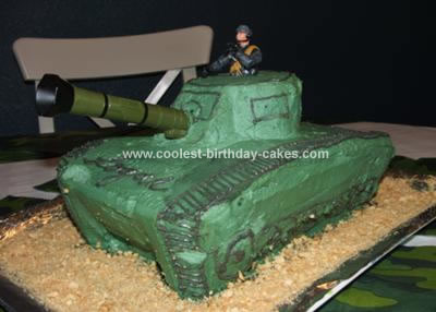 Homemade Army Tank Cake
