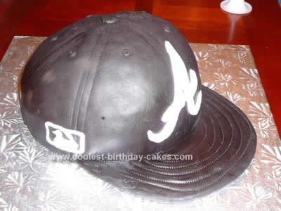 Homemade Atlanta Braves Baseball Hat Cake