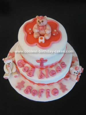 Homemade Baby Bears Christening Cake