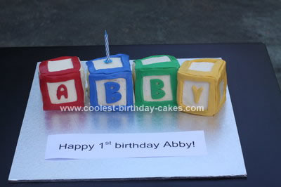 Homemade Baby Blocks Birthday Cake
