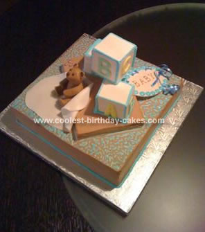 Homemade Baby Blocks Cake