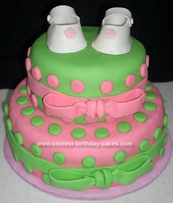 Homemade Baby Booties Shower Cake