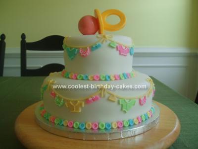 Homemade Baby Clothesline Cake