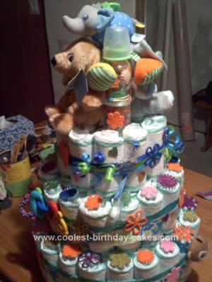Homemade Baby Diaper Cake Design