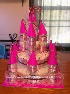 Homemade Baby Girl Castle Diaper Cake