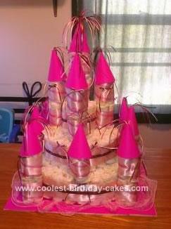 Homemade Baby Girl Castle Diaper Cake