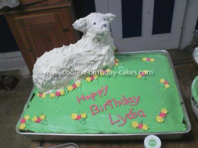 Homemade Baby Sheep 1st Birthday Cake