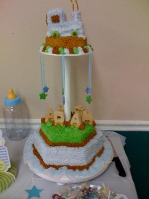 Train baby shower cake