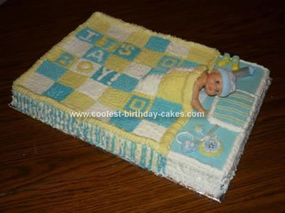 Sweet Homemade Blue And Yellow Quilt Baby Shower Cake