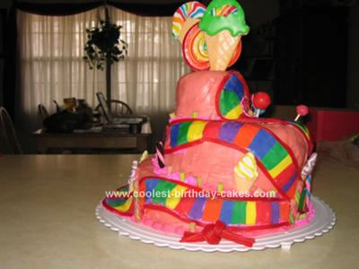 Homemade Baby Shower Cake with a Candyland Theme