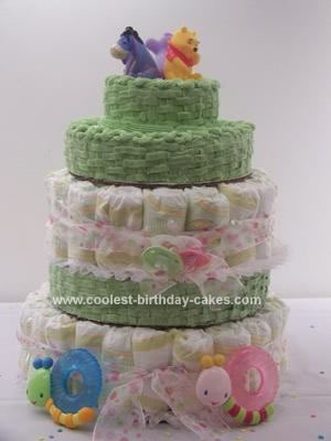 Homemade Baby Shower Diaper and Edible Cake for Twins